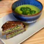 Broccoli Cheddar Soup served with vegan grilled cheese